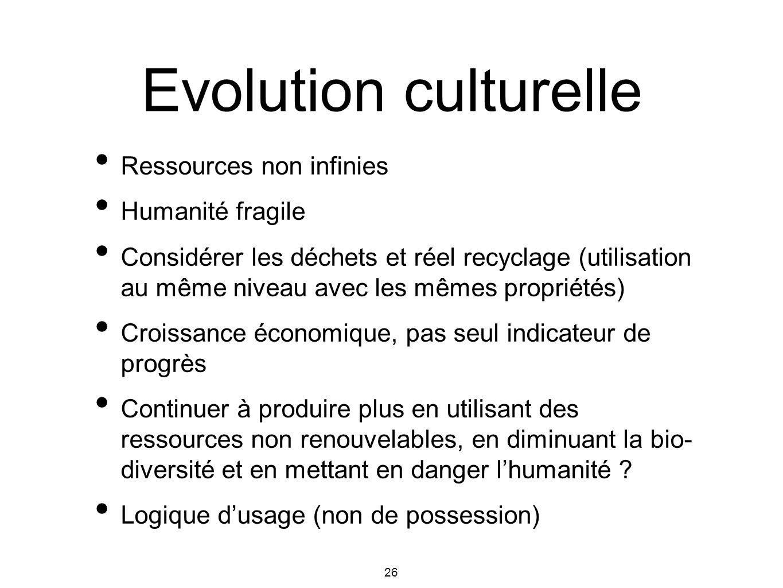 26 Evolution culturelle Ressources non infinies Humanité fragile Considérer les déchets et réel recyclage (utilisation au même niveau avec les mêmes p