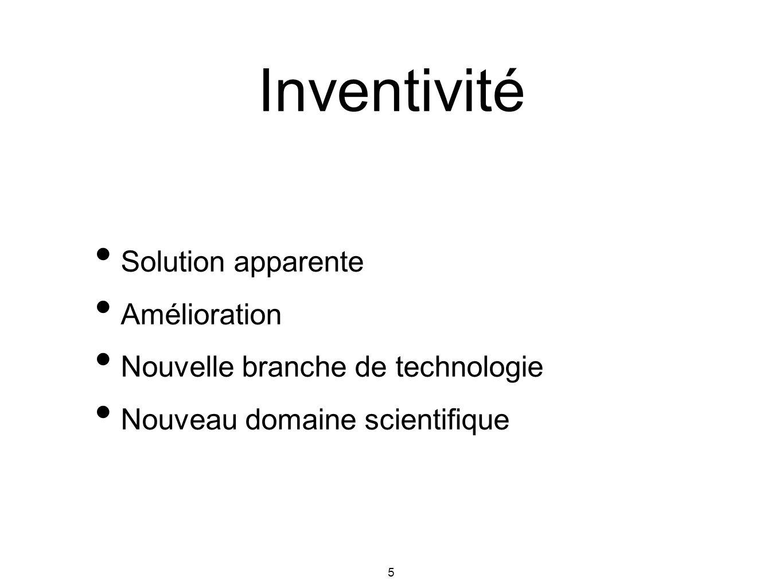 5 Solution apparente Amélioration Nouvelle branche de technologie Nouveau domaine scientifique Inventivité