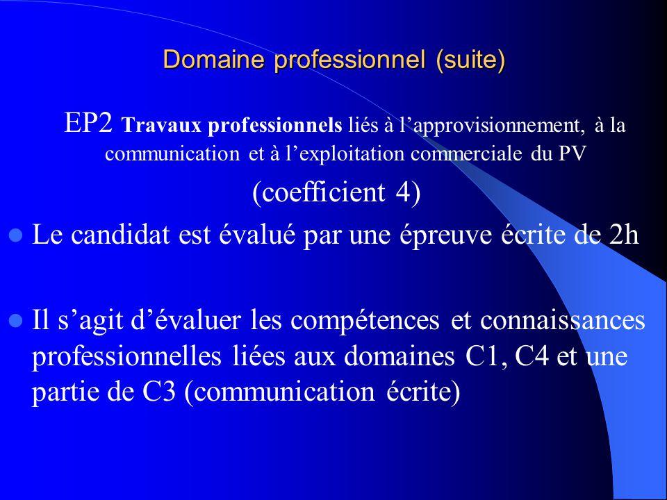 Lexamen Domaine professionnel EP1 pratique du marchandisage et de la vente (coefficient 7) -dont 1 pour la VSP- Le candidat élabore un dossier profess