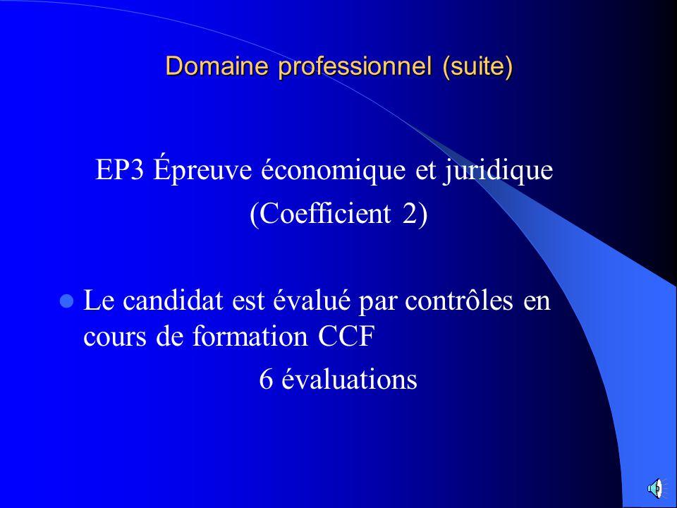 Domaine professionnel (suite) EP2 Travaux professionnels liés à lapprovisionnement, à la communication et à lexploitation commerciale du PV (coefficie