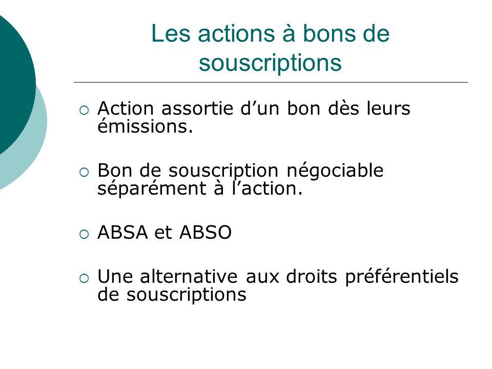 Les actions à bons de souscriptions Action assortie dun bon dès leurs émissions.