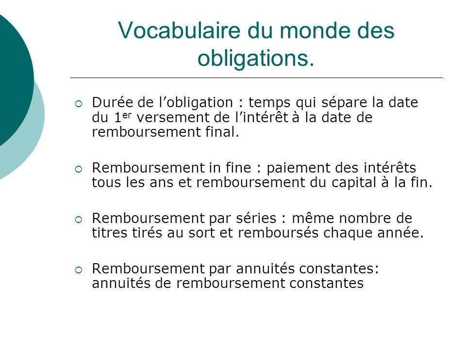 Vocabulaire du monde des obligations.