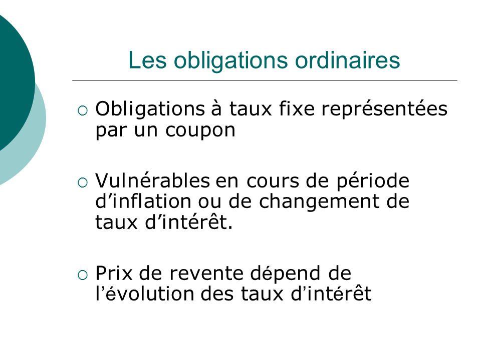 Les obligations ordinaires Obligations à taux fixe représentées par un coupon Vulnérables en cours de période dinflation ou de changement de taux dintérêt.