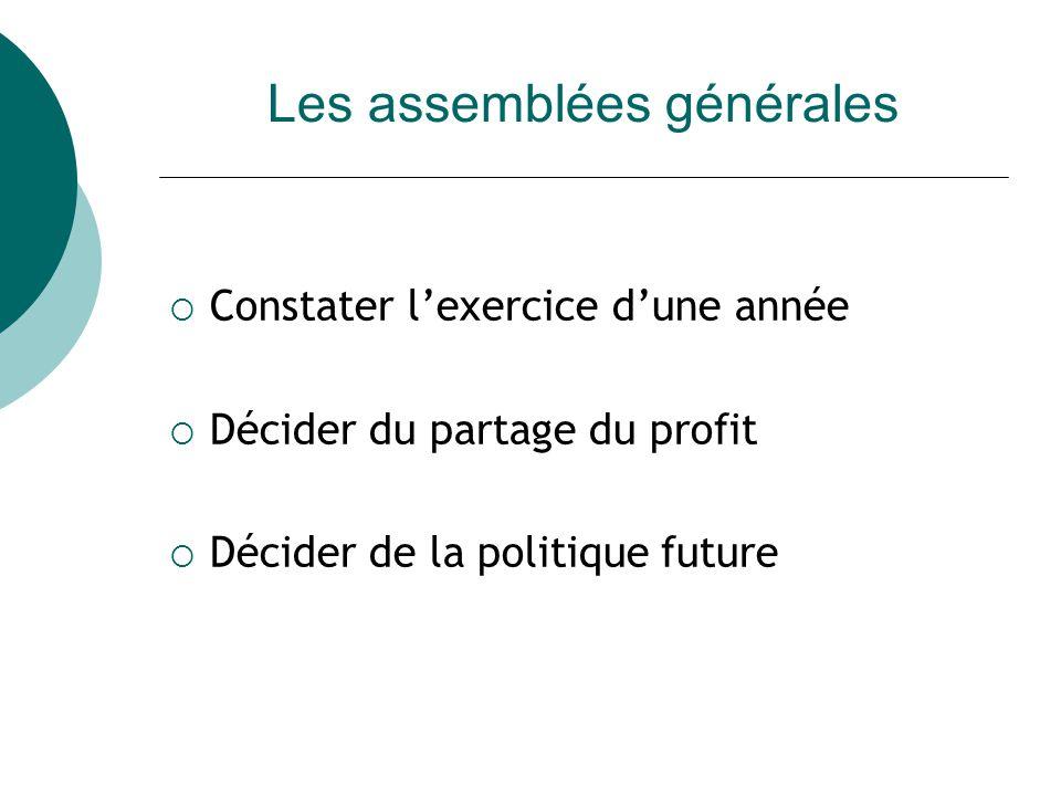 Les assemblées générales Constater lexercice dune année Décider du partage du profit Décider de la politique future