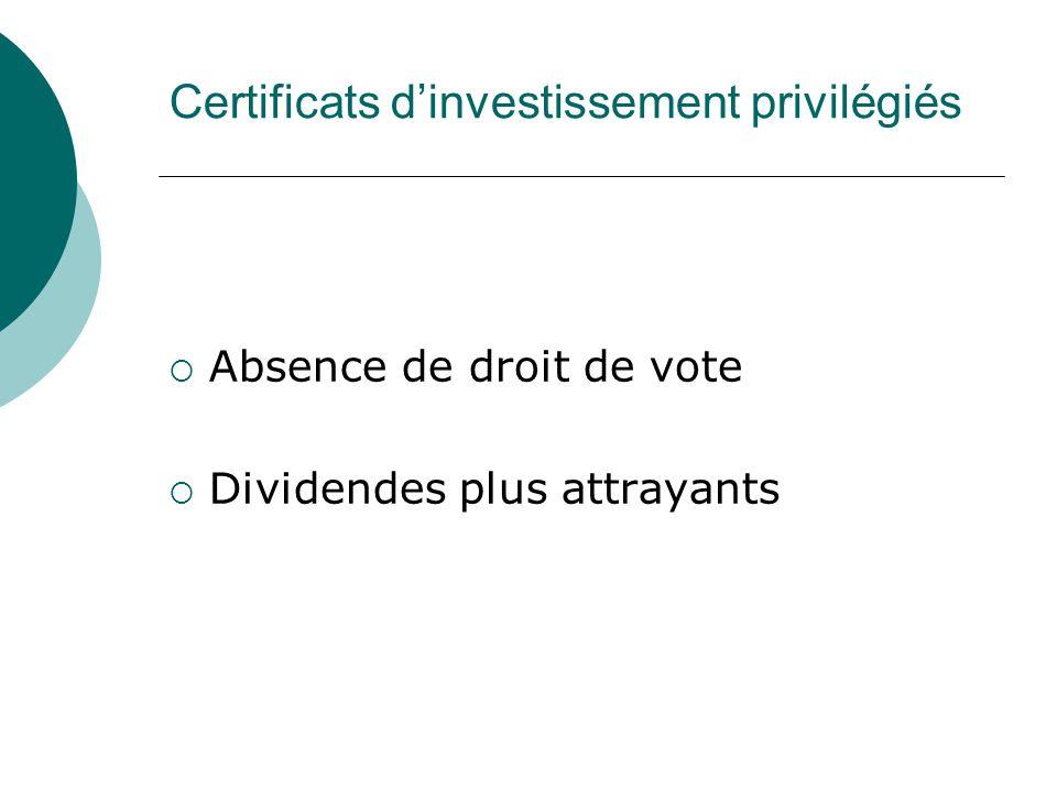 Certificats dinvestissement privilégiés Absence de droit de vote Dividendes plus attrayants