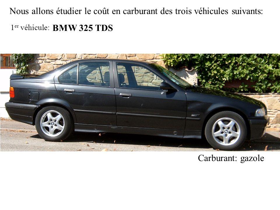 Nous allons étudier le coût en carburant des trois véhicules suivants: BMW 325 TDS Carburant: gazole 1 er véhicule: