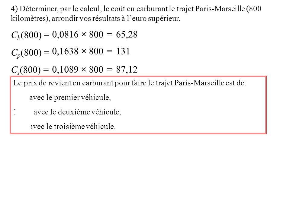 4) Déterminer, par le calcul, le coût en carburant le trajet Paris-Marseille (800 kilomètres), arrondir vos résultats à leuro supérieur.