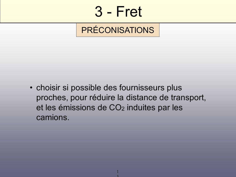 13 3 - Fret choisir si possible des fournisseurs plus proches, pour réduire la distance de transport, et les émissions de CO 2 induites par les camion