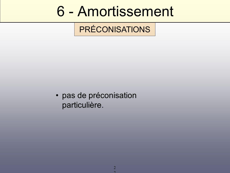 22 6 - Amortissement pas de préconisation particulière. PRÉCONISATIONS