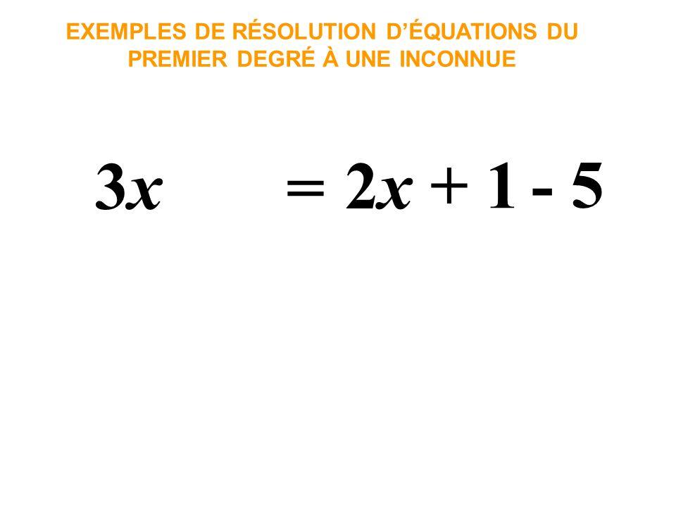3x3x EXEMPLES DE RÉSOLUTION DÉQUATIONS DU PREMIER DEGRÉ À UNE INCONNUE = 2x2x + 1 - 5