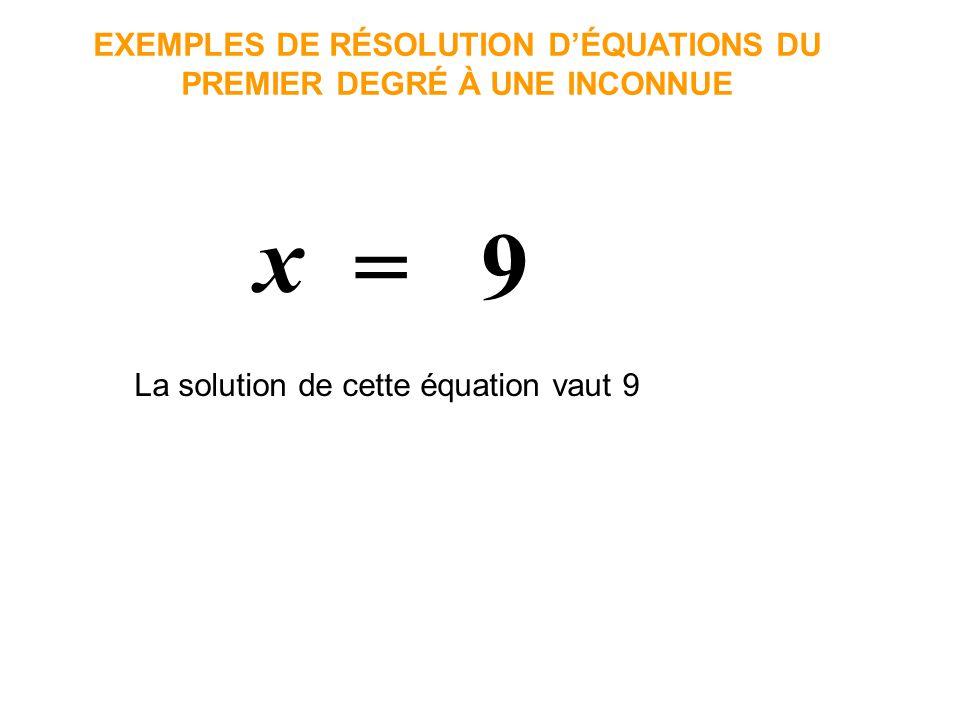 x = 9 EXEMPLES DE RÉSOLUTION DÉQUATIONS DU PREMIER DEGRÉ À UNE INCONNUE La solution de cette équation vaut 9