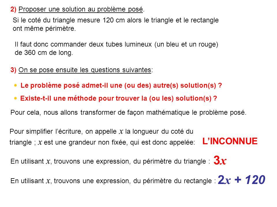 4) Traduire, dune façon mathématique, le fait que le périmètre du triangle est égal au périmètre du rectangle: Périmètre du triangle=Périmètre du rectangle = 3x3x 2 x + 120 Ce type de relation est appelé: Équation du premier degré à une inconnue 5) Quest ce quune solution dune équation .