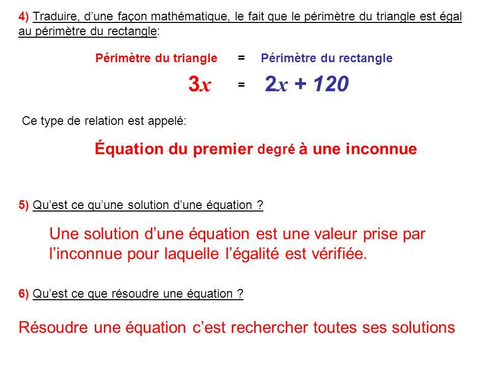 EXEMPLES DE RÉSOLUTION DÉQUATIONS DU PREMIER DEGRÉ À UNE INCONNUE = - 4 x La solution de cette équation vaut -4