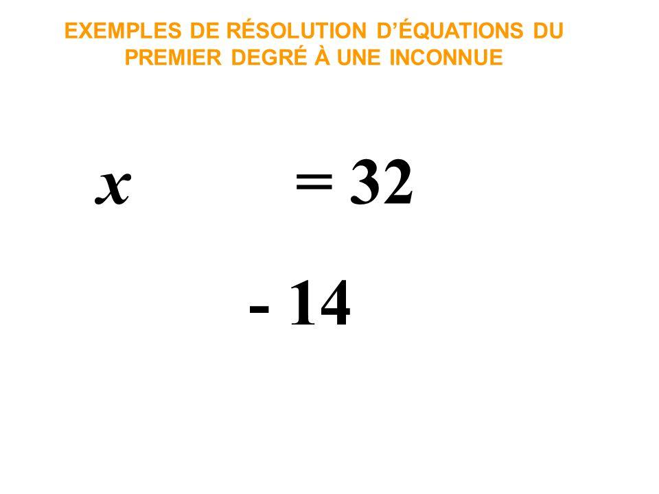 x = 18 EXEMPLES DE RÉSOLUTION DÉQUATIONS DU PREMIER DEGRÉ À UNE INCONNUE La solution de cette équation vaut 18