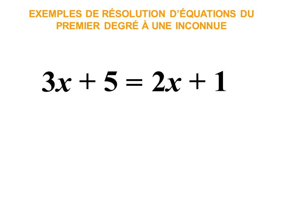 3x3x EXEMPLES DE RÉSOLUTION DÉQUATIONS DU PREMIER DEGRÉ À UNE INCONNUE + 5 = 2x2x + 1