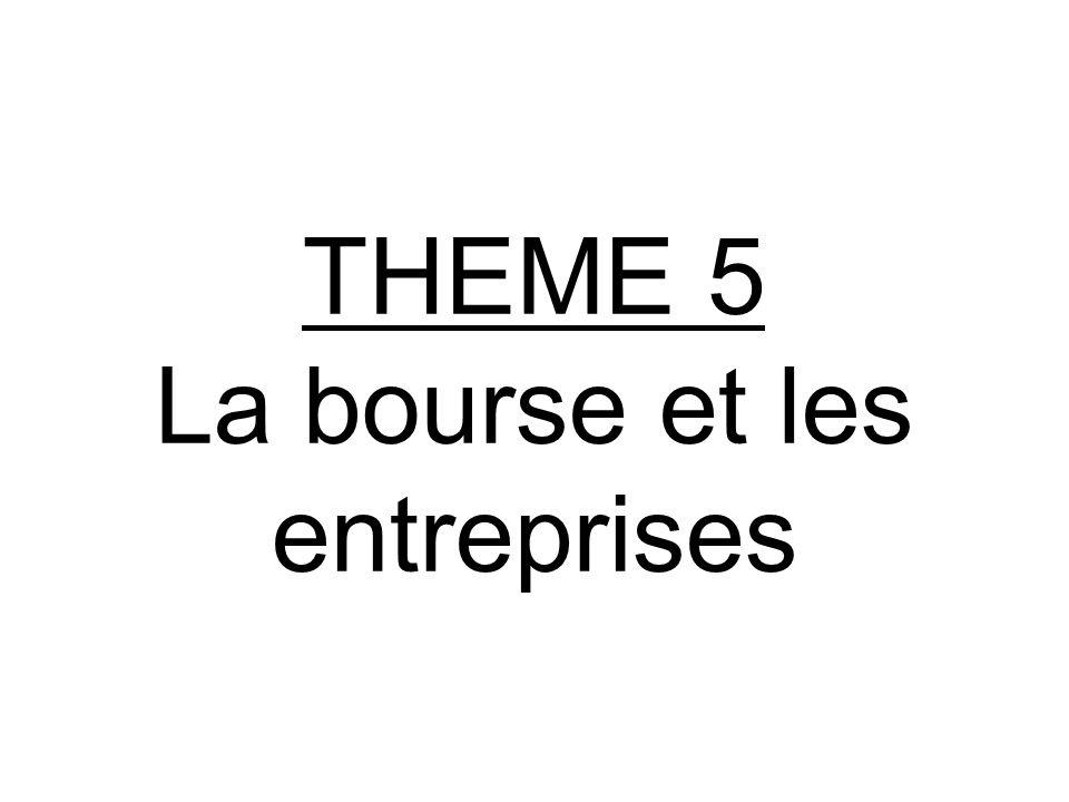 THEME 5 La bourse et les entreprises
