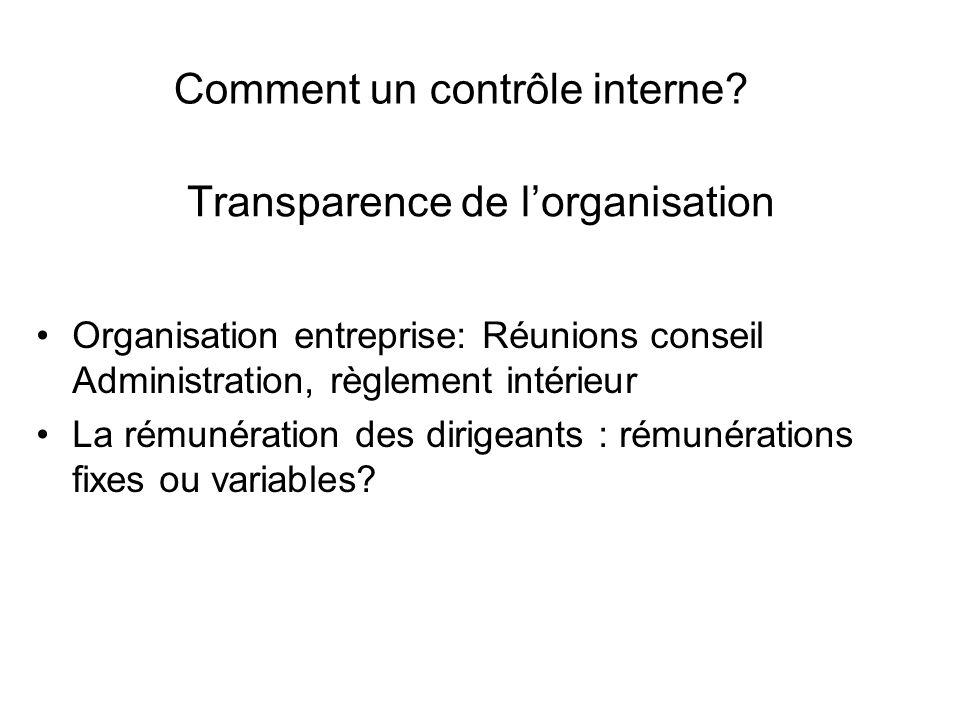 Transparence de lorganisation Organisation entreprise: Réunions conseil Administration, règlement intérieur La rémunération des dirigeants : rémunérations fixes ou variables.