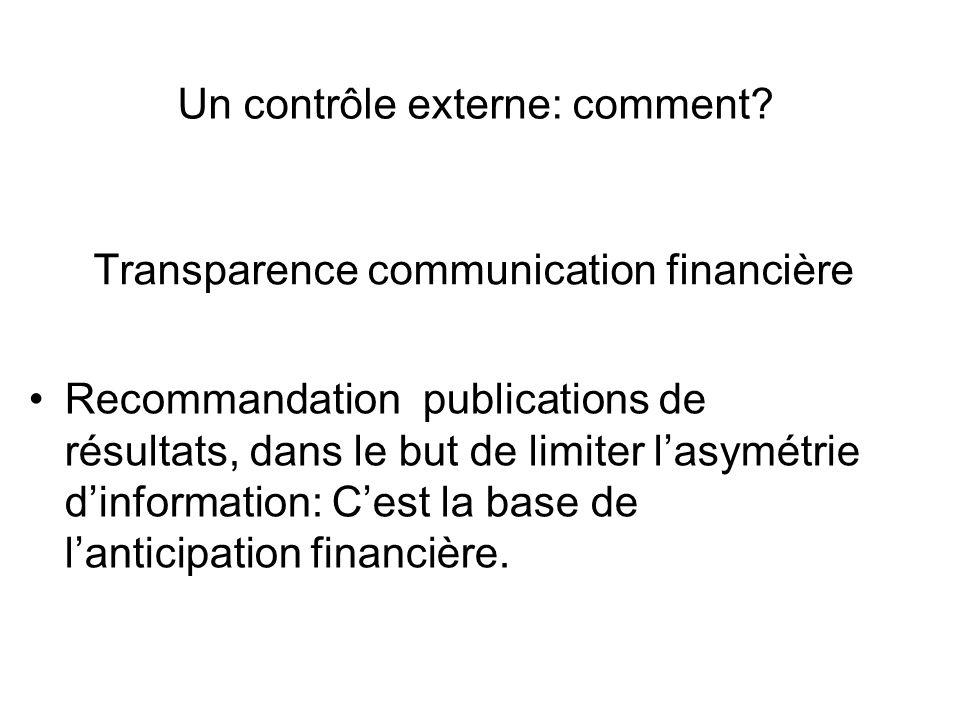 Transparence communication financière Recommandation publications de résultats, dans le but de limiter lasymétrie dinformation: Cest la base de lanticipation financière.