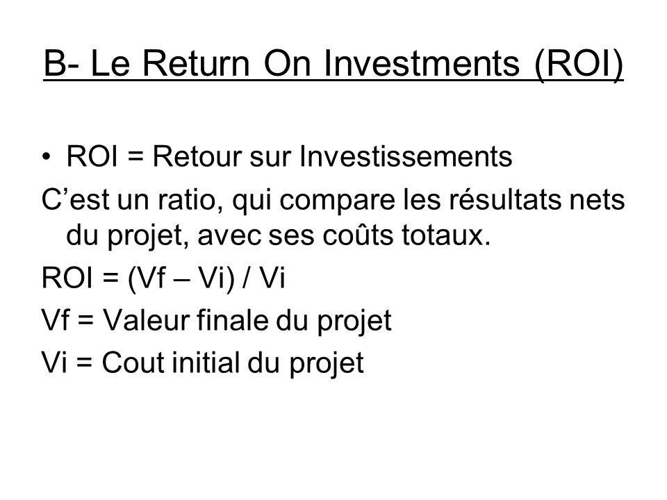 B- Le Return On Investments (ROI) ROI = Retour sur Investissements Cest un ratio, qui compare les résultats nets du projet, avec ses coûts totaux.