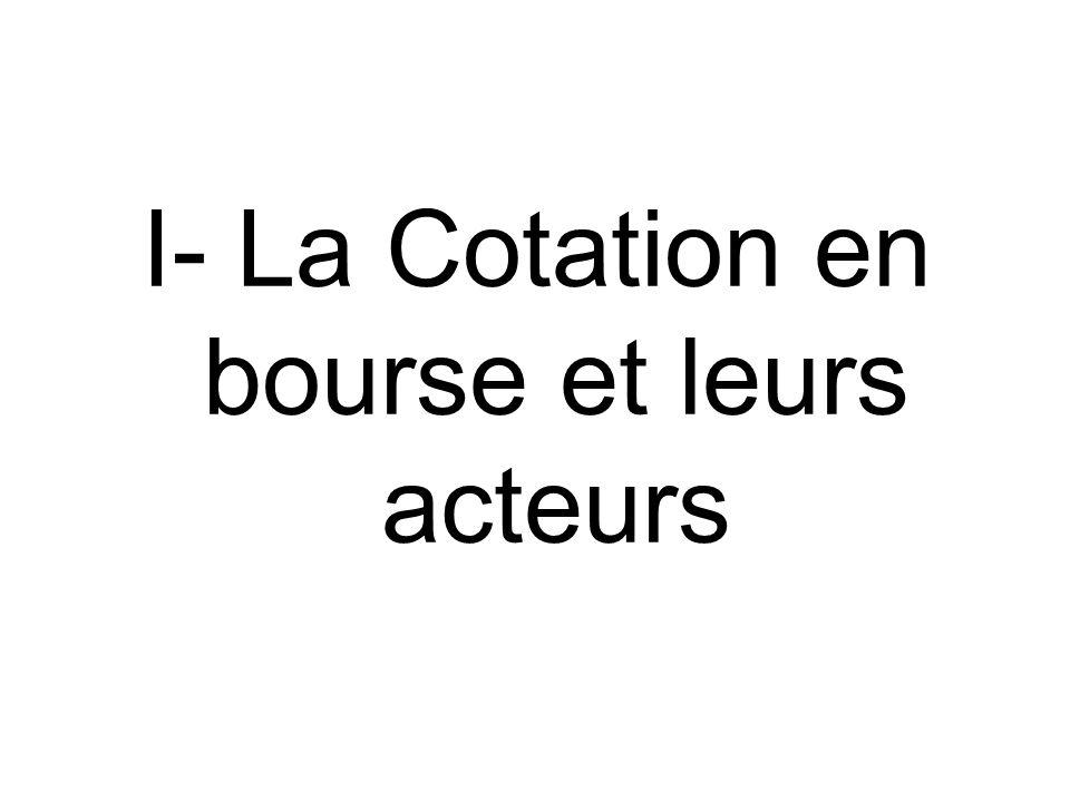 I- La Cotation en bourse et leurs acteurs