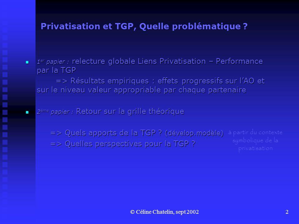 © Céline Chatelin, sept 20022 Privatisation et TGP, Quelle problématique .