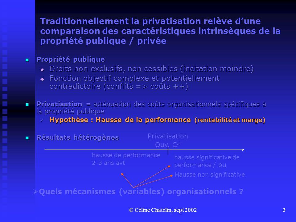 © Céline Chatelin, sept 20023 Traditionnellement la privatisation relève dune comparaison des caractéristiques intrinsèques de la propriété publique / privée Propriété publique Propriété publique Droits non exclusifs, non cessibles (incitation moindre) Droits non exclusifs, non cessibles (incitation moindre) Fonction objectif complexe et potentiellement contradictoire (conflits => coûts ++) Fonction objectif complexe et potentiellement contradictoire (conflits => coûts ++) Privatisation = atténuation des coûts organisationnels spécifiques à la propriété publique Privatisation = atténuation des coûts organisationnels spécifiques à la propriété publique Hypothèse : Hausse de la performance (rentabilité et marge) Hypothèse : Hausse de la performance (rentabilité et marge) Résultats hétérogènes Résultats hétérogènes Privatisation Ouv.