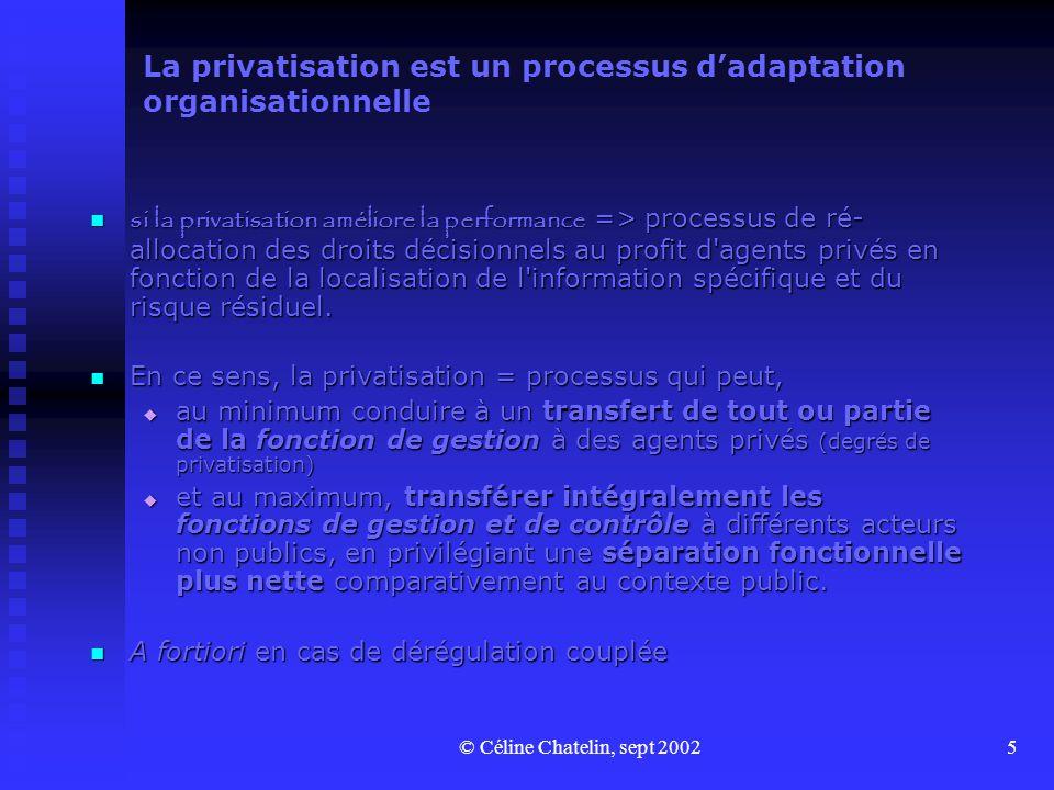 © Céline Chatelin, sept 20025 La privatisation est un processus dadaptation organisationnelle si la privatisation améliore la performance => processus de ré- allocation des droits décisionnels au profit d agents privés en fonction de la localisation de l information spécifique et du risque résiduel.