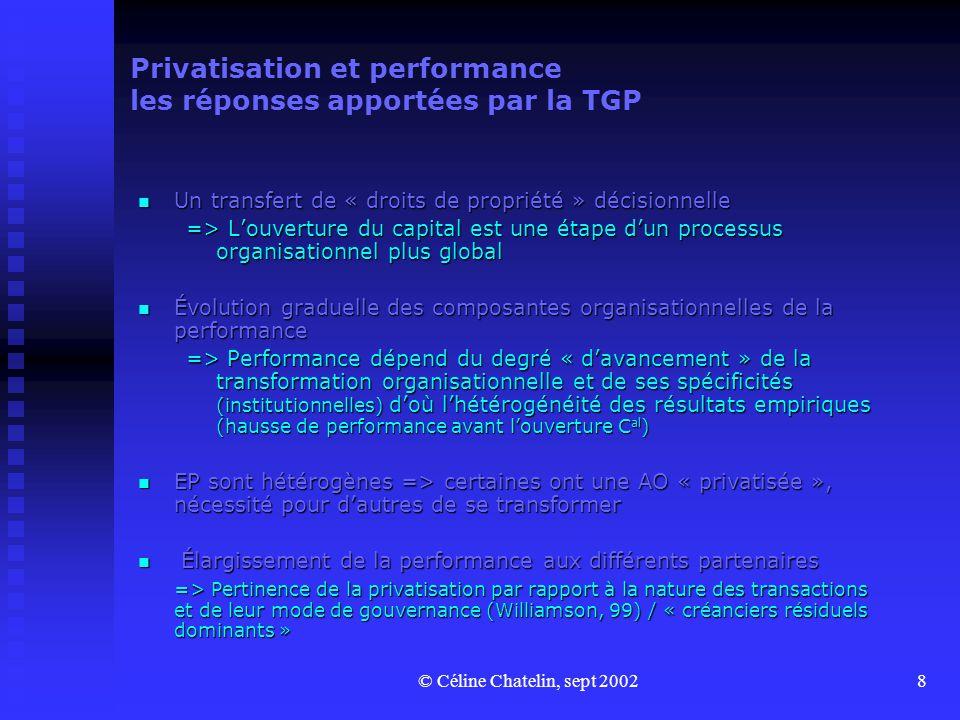 © Céline Chatelin, sept 20028 Privatisation et performance les réponses apportées par la TGP Un transfert de « droits de propriété » décisionnelle Un transfert de « droits de propriété » décisionnelle => Louverture du capital est une étape dun processus organisationnel plus global Évolution graduelle des composantes organisationnelles de la performance Évolution graduelle des composantes organisationnelles de la performance => Performance dépend du degré « davancement » de la transformation organisationnelle et de ses spécificités (institutionnelles) doù lhétérogénéité des résultats empiriques (hausse de performance avant louverture C al ) EP sont hétérogènes => certaines ont une AO « privatisée », nécessité pour dautres de se transformer EP sont hétérogènes => certaines ont une AO « privatisée », nécessité pour dautres de se transformer Élargissement de la performance aux différents partenaires Élargissement de la performance aux différents partenaires => Pertinence de la privatisation par rapport à la nature des transactions et de leur mode de gouvernance (Williamson, 99) / « créanciers résiduels dominants »