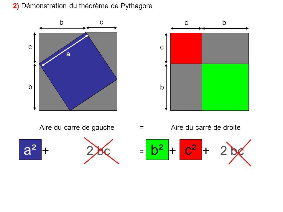 b c b c bc b c a Aire du carré de gauche=Aire du carré de droite ++ + + = +++ a² bc 2 c²b² bc 2 2 2 2 bc 2) Démonstration du théorème de Pythagore