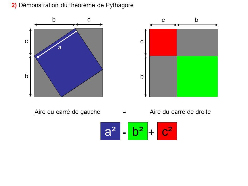 b c b c bc b c a Aire du carré de gauche=Aire du carré de droite = + a²c²b² 2) Démonstration du théorème de Pythagore