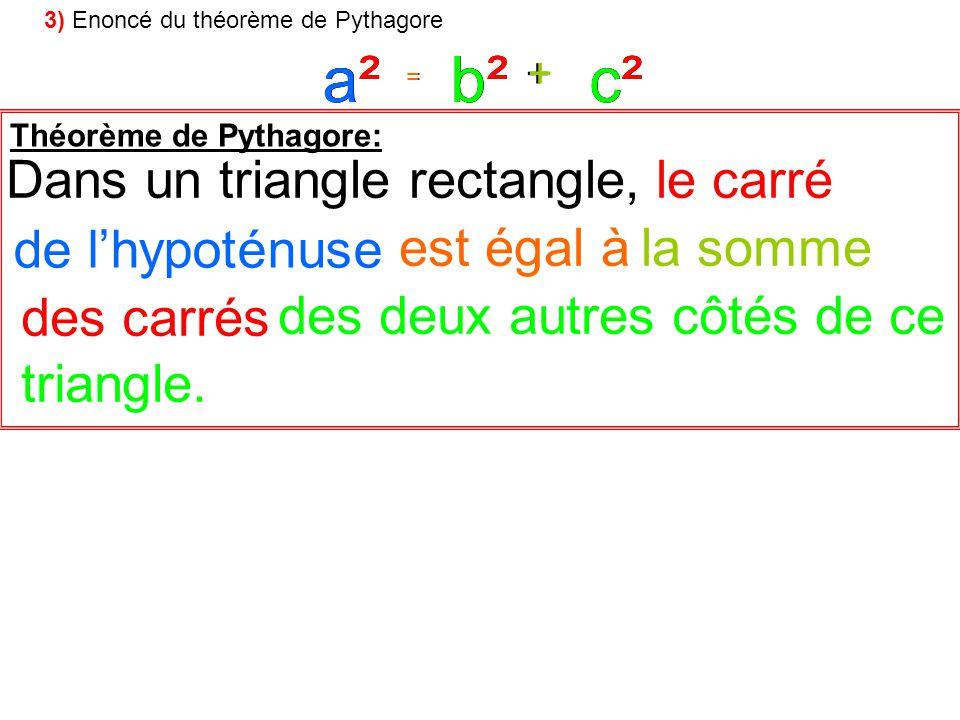 = + a²c²b² = + a²a²c²c²b²b² Théorème de Pythagore: le carréDans un triangle rectangle, des deux autres côtés de ce la sommeest égal à de lhypoténuse d