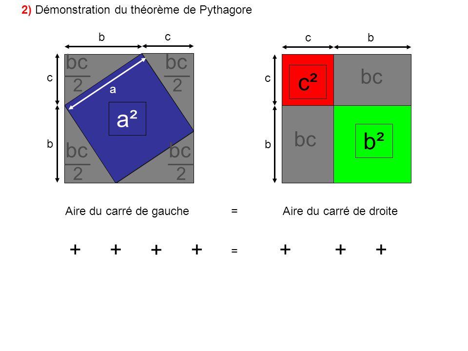 b c b c bc b c Aire du carré de gauche=Aire du carré de droite a a² + bc 2 + + + 2 2 2 = c² b² +++ bc 2) Démonstration du théorème de Pythagore