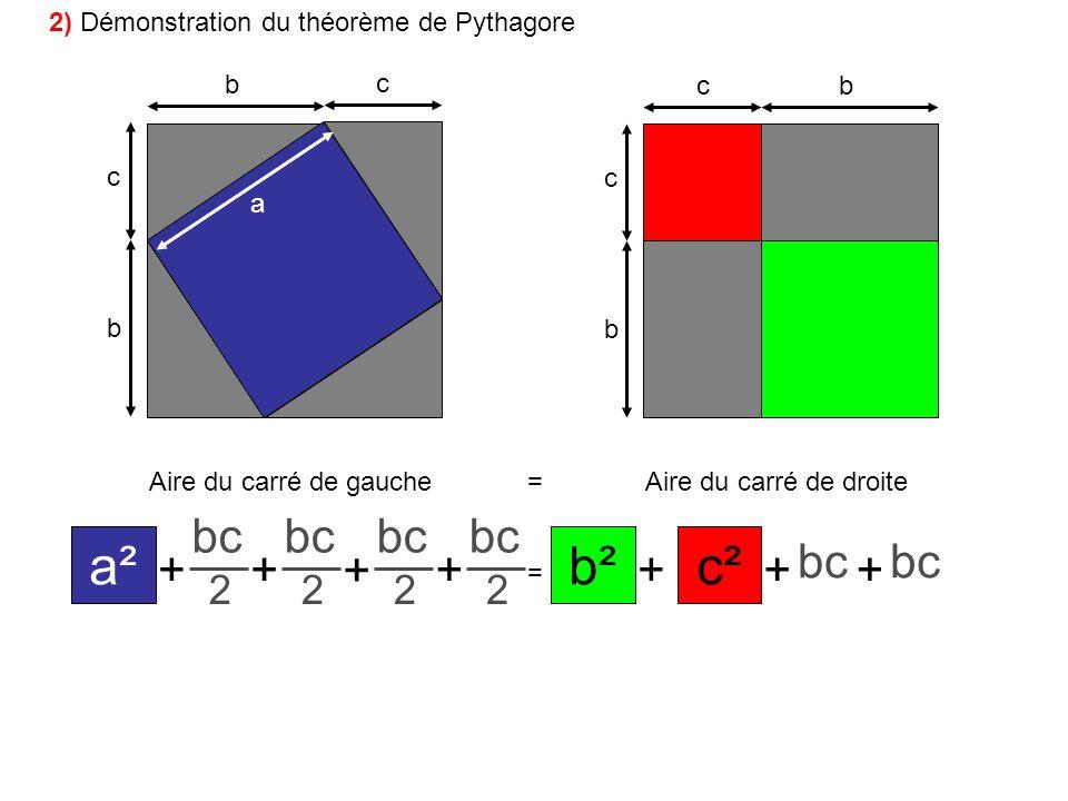 b c b c bc b c a Aire du carré de gauche=Aire du carré de droite ++ + + = +++ a² bc 2 c²b² bc 2 2 2 2) Démonstration du théorème de Pythagore