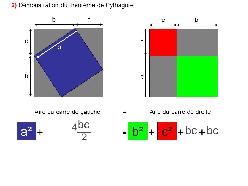 b c b c bc b c a Aire du carré de gauche=Aire du carré de droite ++ + + = +++ a² bc 2 c²b² bc 2 2 2 2 4 2) Démonstration du théorème de Pythagore