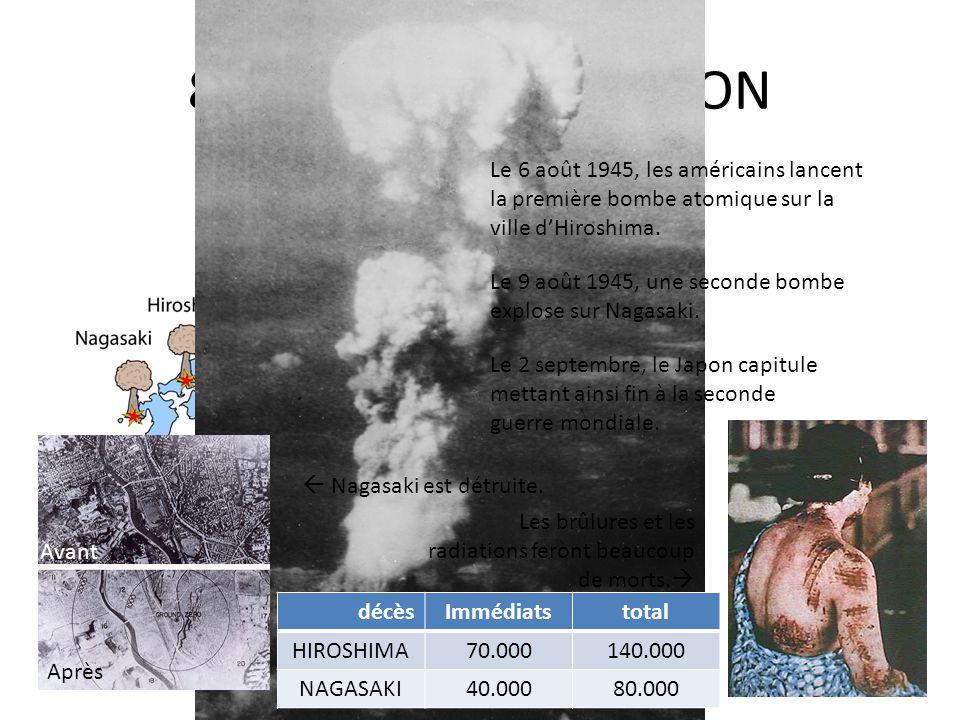 8. LA DEFAITE DU JAPON Le 6 août 1945, les américains lancent la première bombe atomique sur la ville dHiroshima. Le 9 août 1945, une seconde bombe ex