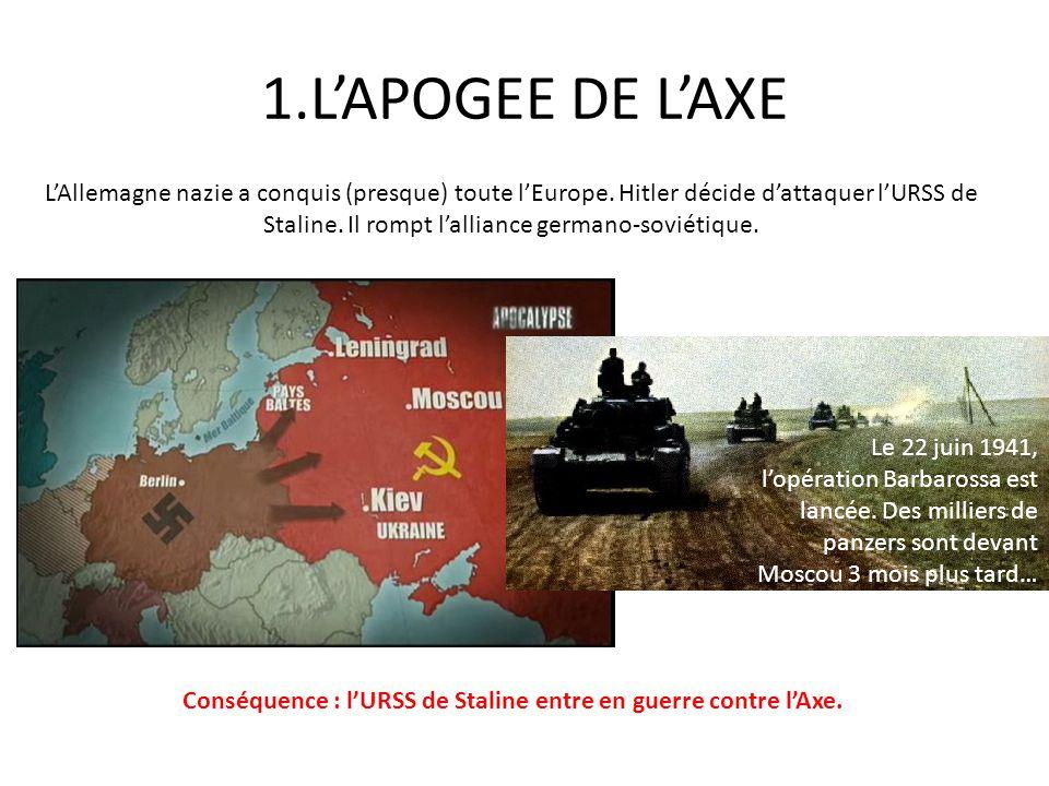 1.LAPOGEE DE LAXE LAllemagne nazie a conquis (presque) toute lEurope. Hitler décide dattaquer lURSS de Staline. Il rompt lalliance germano-soviétique.