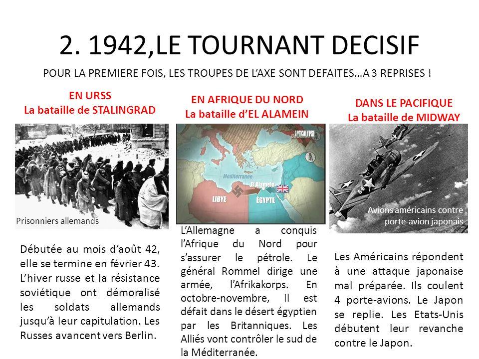 2. 1942,LE TOURNANT DECISIF POUR LA PREMIERE FOIS, LES TROUPES DE LAXE SONT DEFAITES…A 3 REPRISES ! EN URSS La bataille de STALINGRAD Prisonniers alle