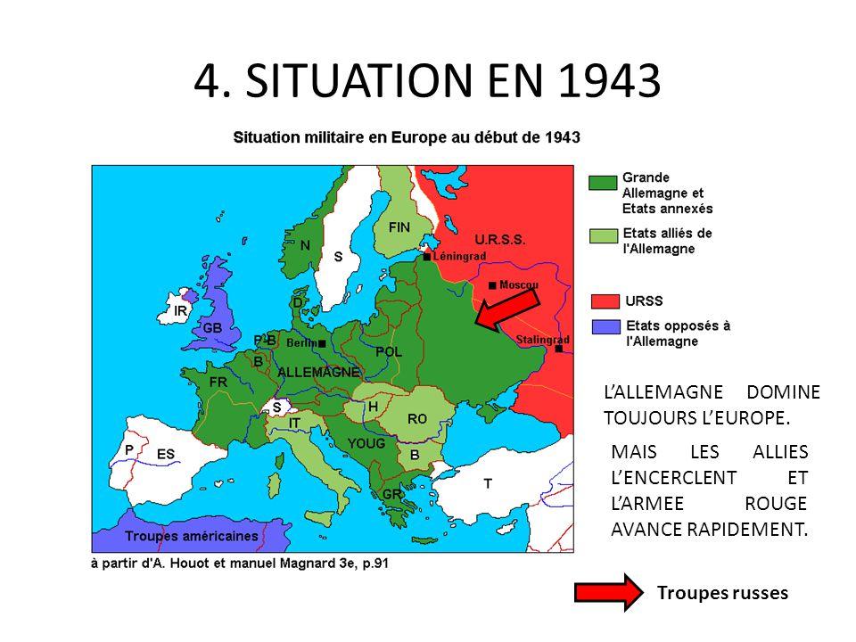 4. SITUATION EN 1943 LALLEMAGNE DOMINE TOUJOURS LEUROPE. MAIS LES ALLIES LENCERCLENT ET LARMEE ROUGE AVANCE RAPIDEMENT. Troupes russes