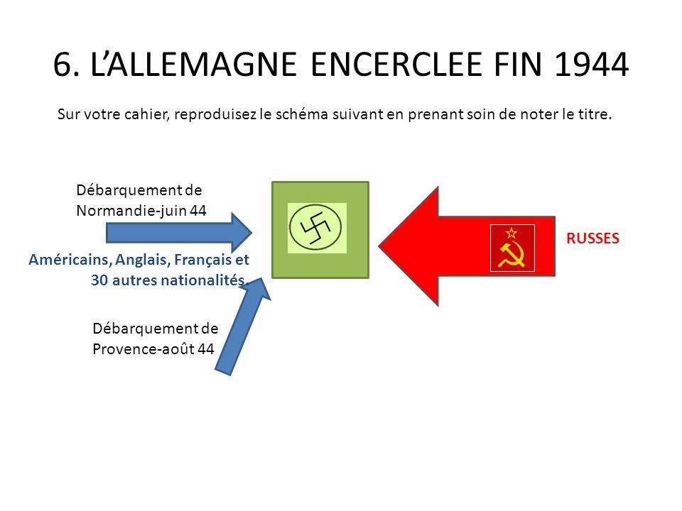 6. LALLEMAGNE ENCERCLEE FIN 1944 Débarquement de Normandie-juin 44 Débarquement de Provence-août 44 Américains, Anglais, Français et 30 autres nationa