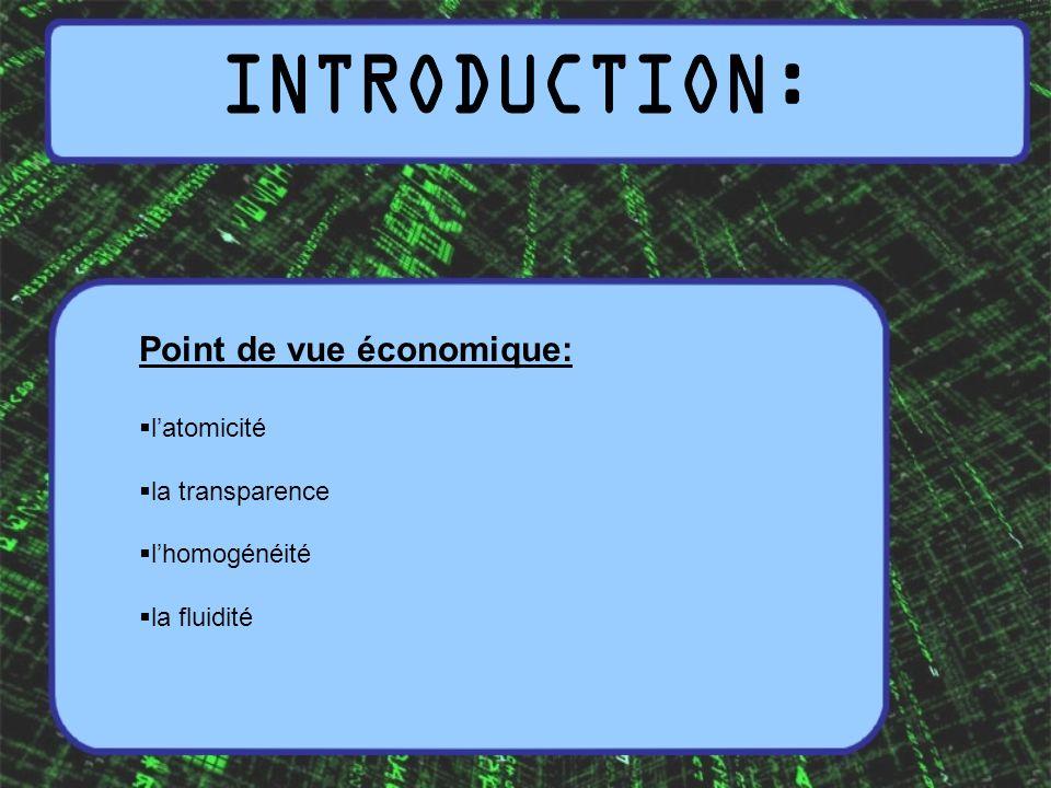 Point de vue économique: latomicité la transparence lhomogénéité la fluidité
