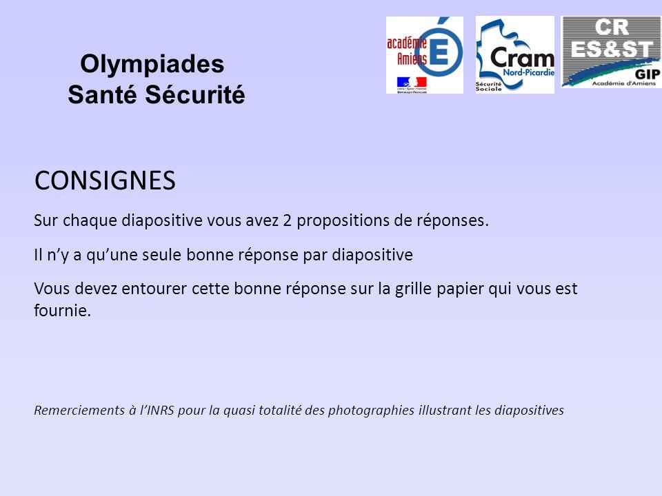 Olympiades Santé Sécurité CONSIGNES Sur chaque diapositive vous avez 2 propositions de réponses. Il ny a quune seule bonne réponse par diapositive Vou