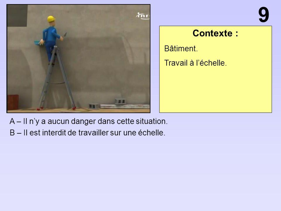Contexte : A – Il ny a aucun danger dans cette situation. B – Il est interdit de travailler sur une échelle. 9 Bâtiment. Travail à léchelle.