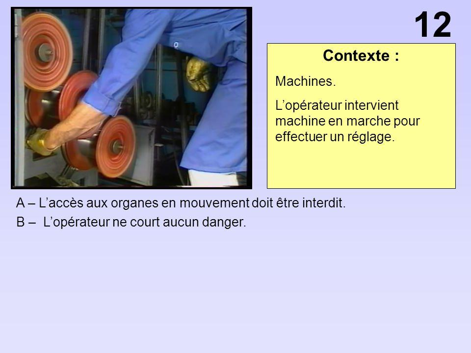Contexte : A – Laccès aux organes en mouvement doit être interdit. B – Lopérateur ne court aucun danger. 12 Machines. Lopérateur intervient machine en