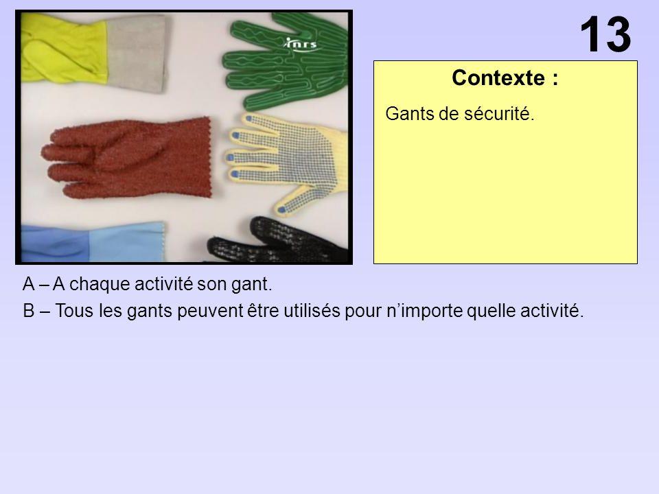 Contexte : A – A chaque activité son gant. B – Tous les gants peuvent être utilisés pour nimporte quelle activité. 13 Gants de sécurité.