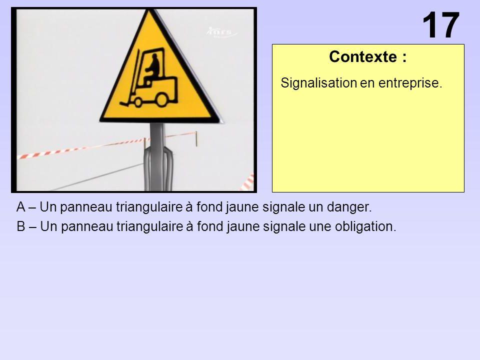 Contexte : A – Un panneau triangulaire à fond jaune signale un danger.