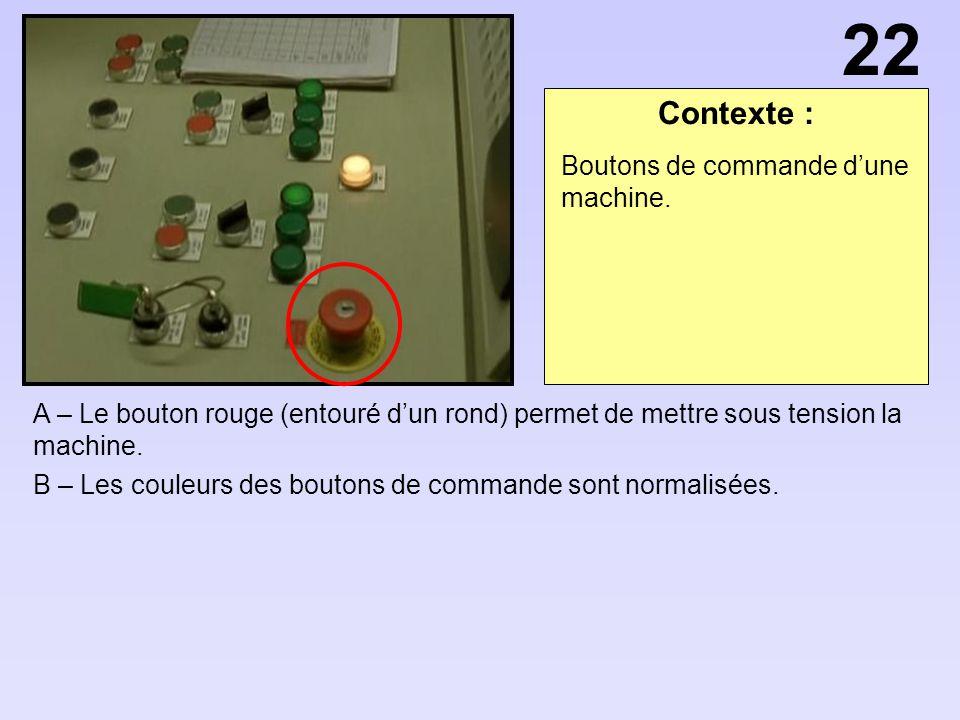 Contexte : A – Le bouton rouge (entouré dun rond) permet de mettre sous tension la machine. B – Les couleurs des boutons de commande sont normalisées.