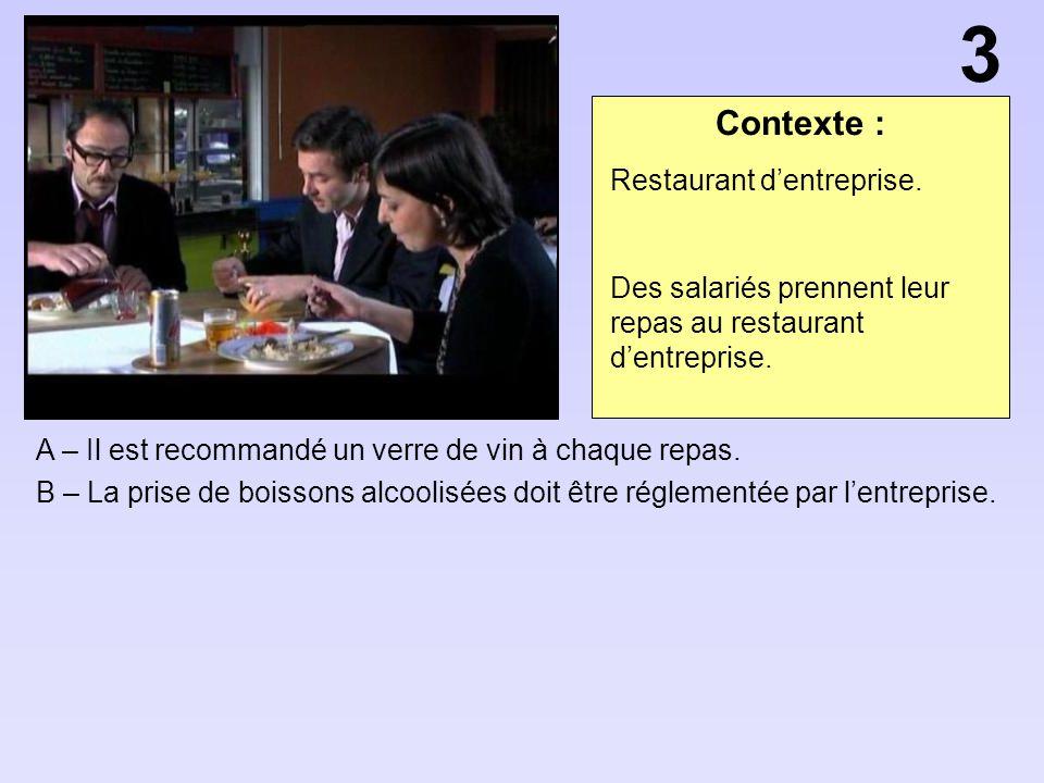 Contexte : A – Il est recommandé un verre de vin à chaque repas. B – La prise de boissons alcoolisées doit être réglementée par lentreprise. 3 Restaur
