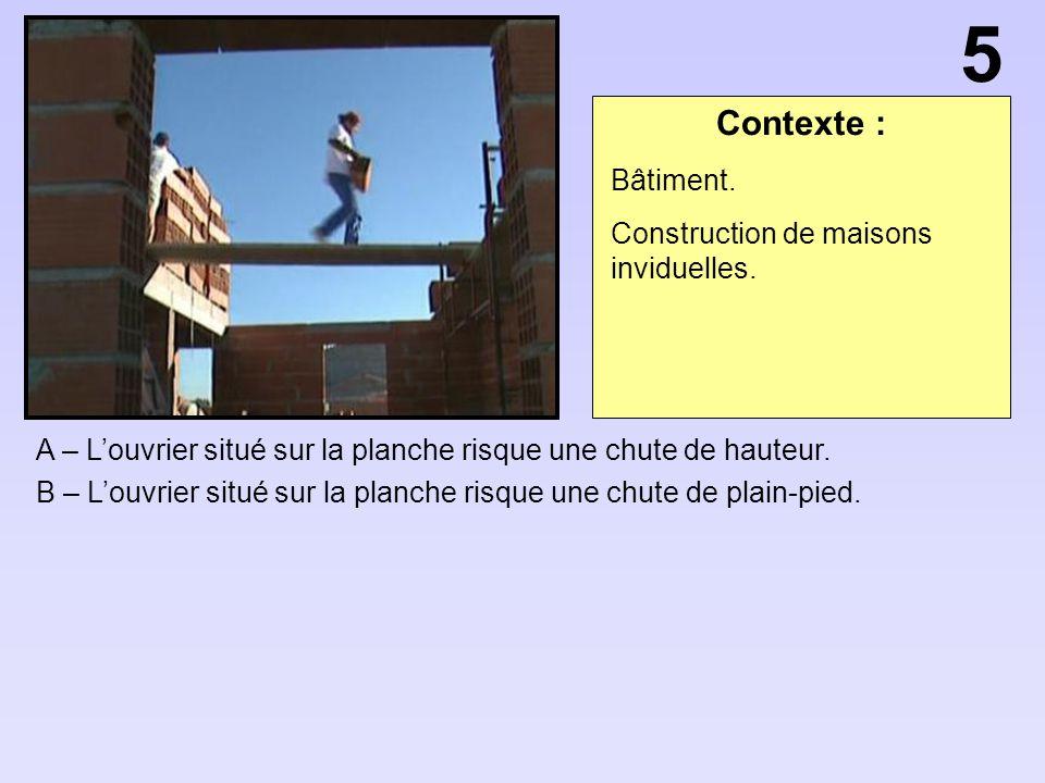 Contexte : A – Louvrier situé sur la planche risque une chute de hauteur. B – Louvrier situé sur la planche risque une chute de plain-pied. 5 Bâtiment
