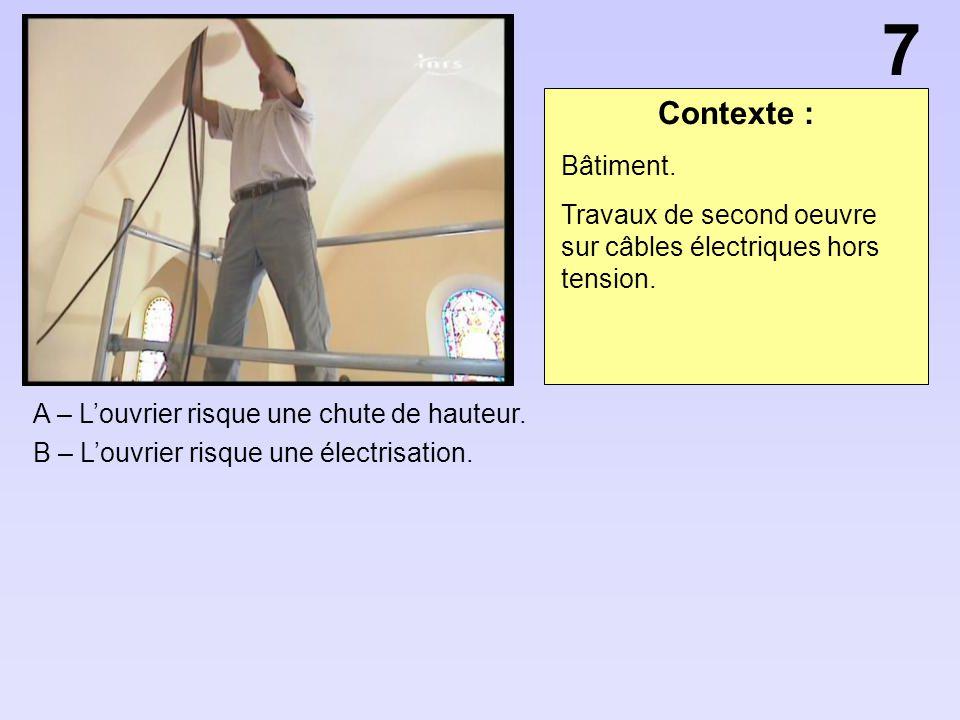 Contexte : A – Louvrier risque une chute de hauteur. B – Louvrier risque une électrisation. 7 Bâtiment. Travaux de second oeuvre sur câbles électrique
