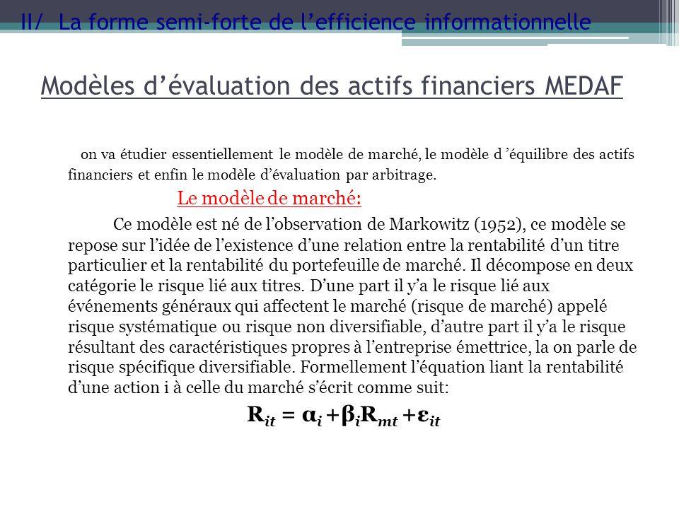 Modèles dévaluation des actifs financiers MEDAF on va étudier essentiellement le modèle de marché, le modèle d équilibre des actifs financiers et enfi